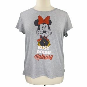 Disney Minnie Busy Doing Nothing Gray Graphic Tee
